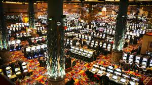Inside Twin River Casino's cavernous first floor casino.