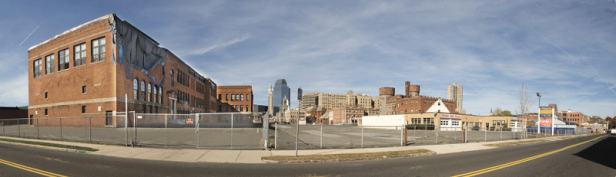 A panoramic view of the section of Springfield's South End that will be transformed into MGM's $800 million casino complex. Image provided by businesswest.com