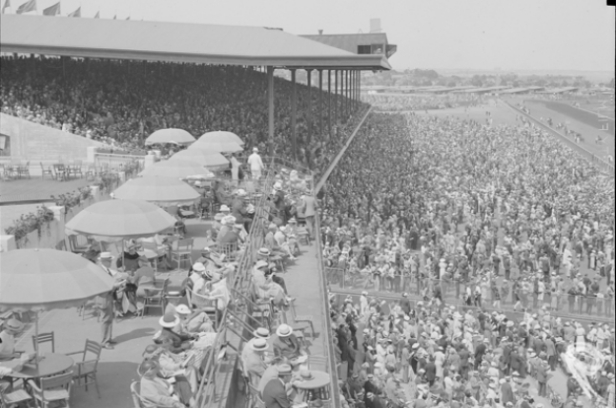A large crowd at Suffolk Downs in 1936. Photo provided by the Boston Public Library.