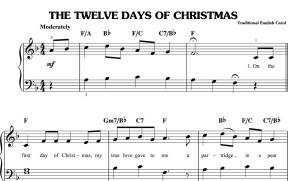 the twelve days of christmas sheet music christmas carol sheet music pianojpgw300h181 - 12 Days Of Christmas Lyrics
